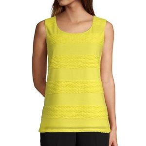 EAST 5TH Yellow Scoop Neck Jacquard Tank XL NWOT